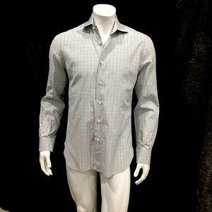 Isaia Mens Mini Check Multicolor Dress Shirt
